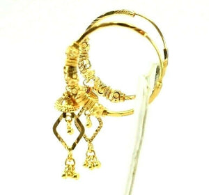 22k Earrings Solid Gold ELEGANT Simple Hoops with Dangle Design E8010