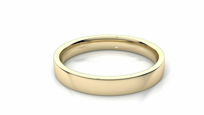 18k Solid Gold 4mm Comfort Fit Wedding Flat Band in 18k Yellow Gold