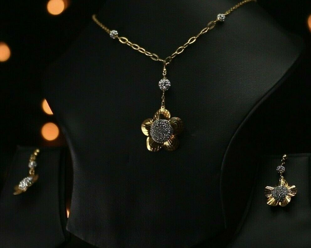 22k Beautiful Solid Gold Classic Two Tone Floral Necklace Set Ladies LS284z