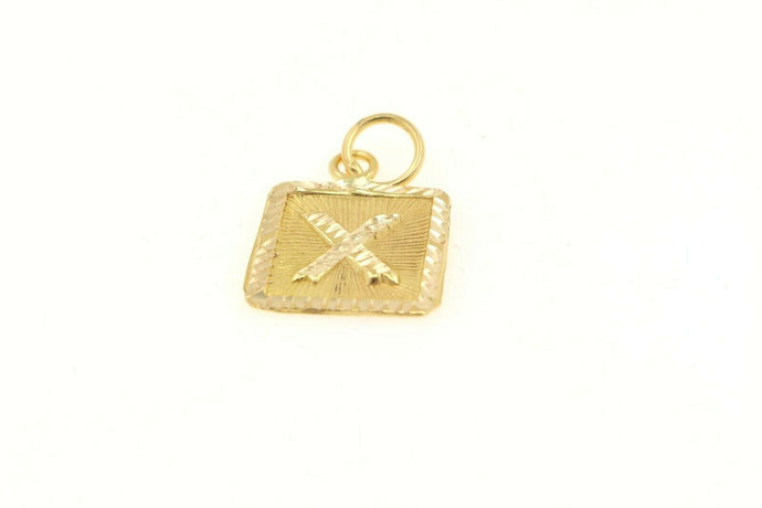 22k 22ct Solid Gold Charm Letter X Pendant Square Design p1126 ns | Royal Dubai Jewellers