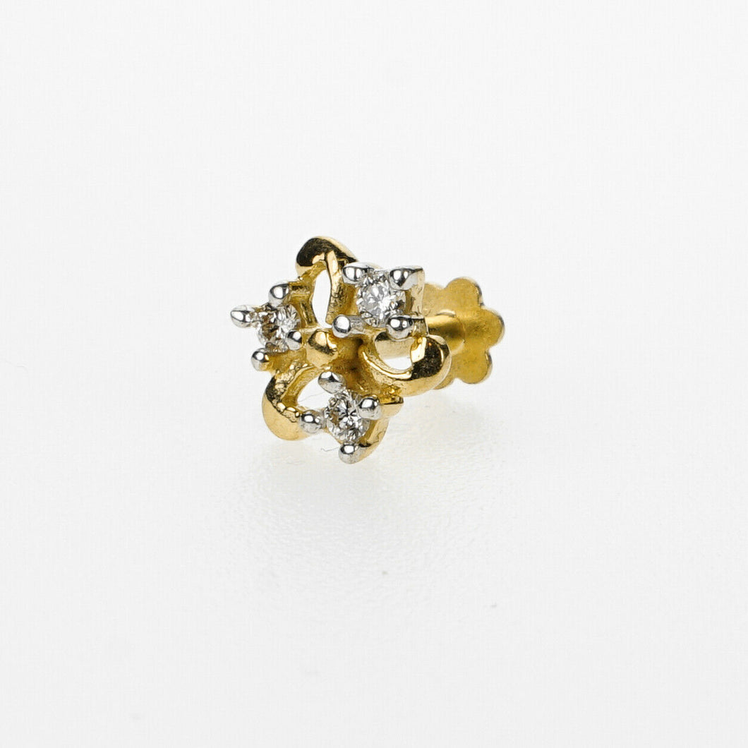 18k Stunning Modern Diamond Solid Gold Nose pin Unique Design Comfort Fit NP38