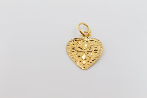 22k 22ct Solid Gold Heart Shape Pendant Locket Diamond Cut p1004 ns | Royal Dubai Jewellers