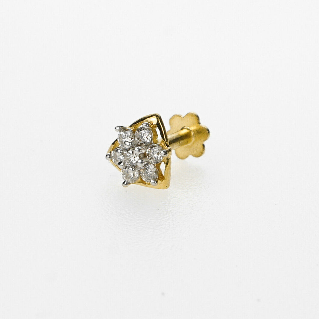 18k Stunning Modern Diamond Solid Gold Nose pin Unique Design Comfort Fit NP62