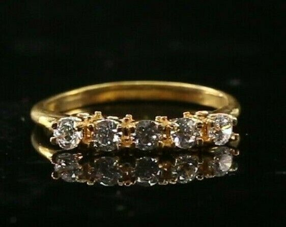 22k Ring Solid Gold ELEGANT Charm Ladies Stone Band  SIZE 7.25