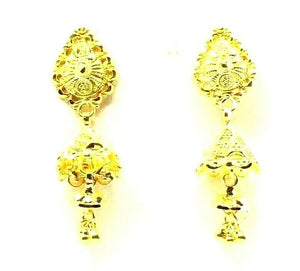 22k Earrings Solid Gold ELEGANT Simple Small Jhumki Dangle and Drop Design e6085