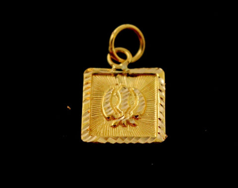 22k 22ct Solid Gold SIKH RELIGIOUS KHANDA ONKAR Pendant Diamond Cut p968 ns | Royal Dubai Jewellers