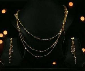22k Beautiful Solid Gold Classic Diamond Cut Beads Necklace Set For Ladies LS242