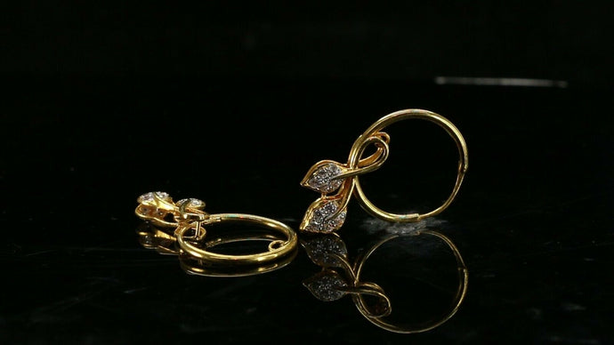 22k Earrings Solid Gold ELEGANT Simple Diamond Cut Hoop with Leafs Design e8001