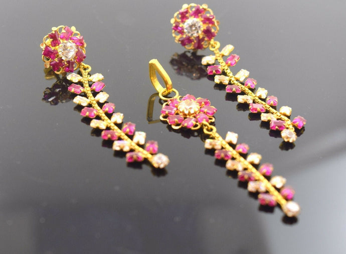 22k Jewelry Solid Gold ELEGANT STONE Pendant Set EARRINGS DANGLING S26 | Royal Dubai Jewellers