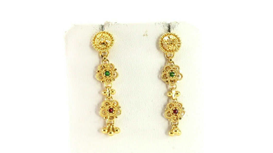 22k Earrings Solid Gold ELEGANT Simple Classic Enamel Studs Design E3899