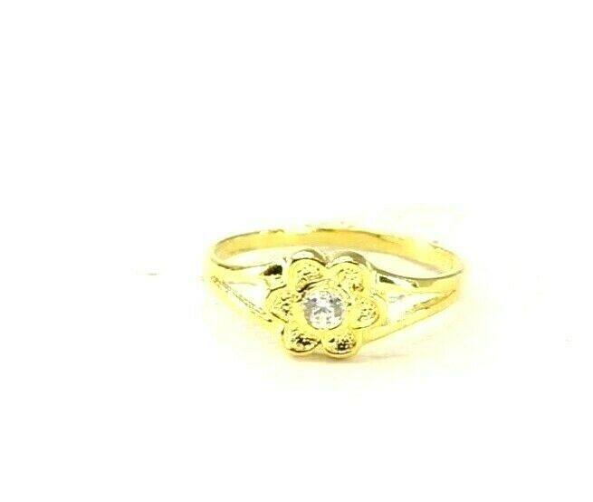 22k Ring Solid Gold ELEGANT Charm Simple Kids Ring SIZE 3.25