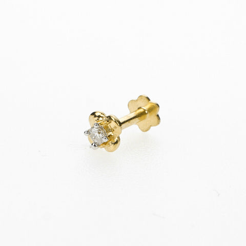 18k Stunning Modern Diamond Solid Gold Nose pin Unique Design Comfort Fit NP18