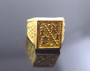 "22k Solid Gold ELEGANT MENS Ring Exquisite Design ""RESIZABLE"" mf R276 
