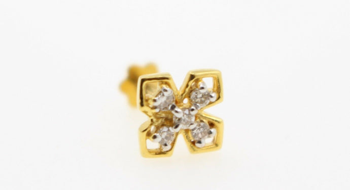 Authentic 18K Yellow Gold Charm Nose Pin Stud Diamond VS2 n317 | Forever22karat
