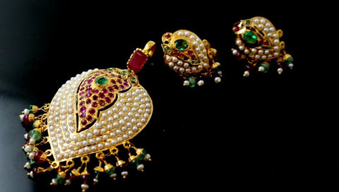 22k 22ct Solid Gold ELEGANT PEARL WITH RUBY STONES Pendant Set EARRING P832 | Royal Dubai Jewellers