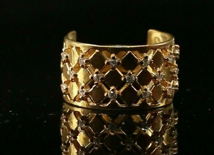22k Ring Solid Gold ELEGANT Charm Ladies Wide Band SIZE 7.25