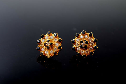 22k 22ct Solid Gold Elegant Ladies Stone Onyx Stud Round EARRINGS  E5922 | Royal Dubai Jewellers