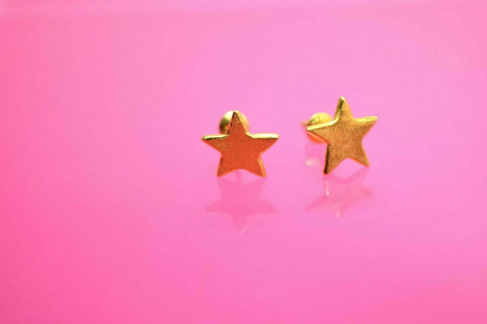 22k 22ct solid gold ELEGANT STAR EARRINGS STUD WITH  FREE BOX mf | Royal Dubai Jewellers