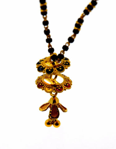 "22k Jewelry Yellow Gold Rope Chain Solid Necklace Mangalsutra Design 16"" c351 