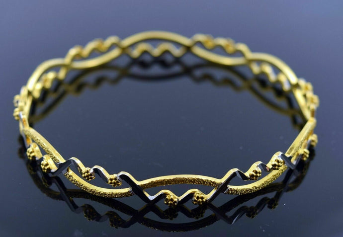 CUSTOM Handmade 22K SOLID GOLD BANGLE BRACELETS BRACELET Cuff pick your size | Handmade