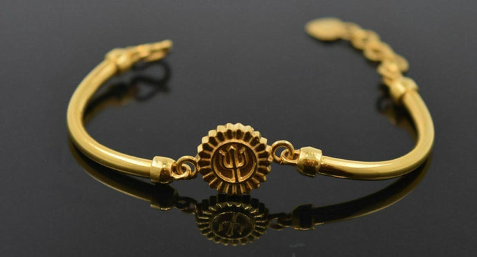 22k 22ct Solid Gold ELEGANT TRISHUL BABY KID BRACELET bangle cuff cb305 | Royal Dubai Jewellers