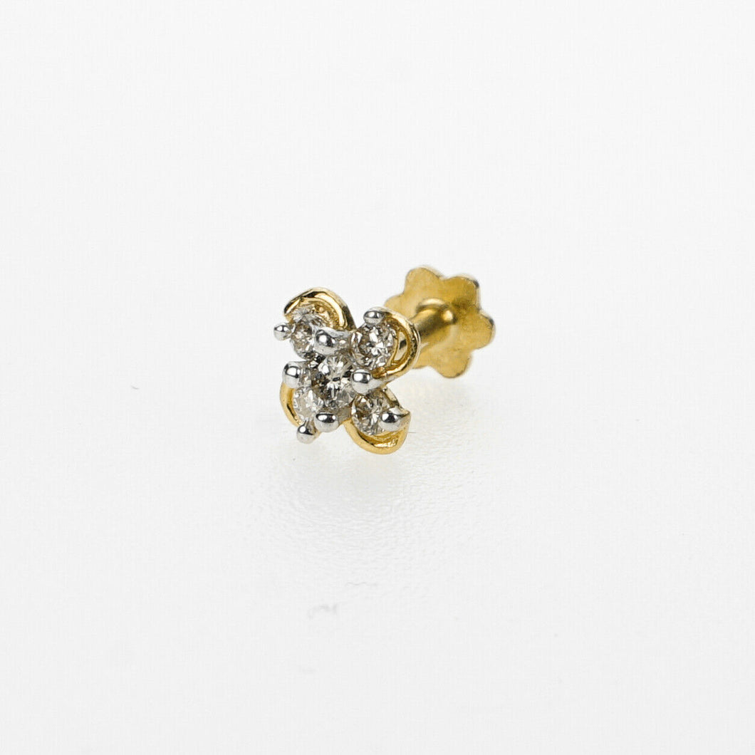 18k Stunning Modern Diamond Solid Gold Nose pin Unique Design Comfort Fit NP56