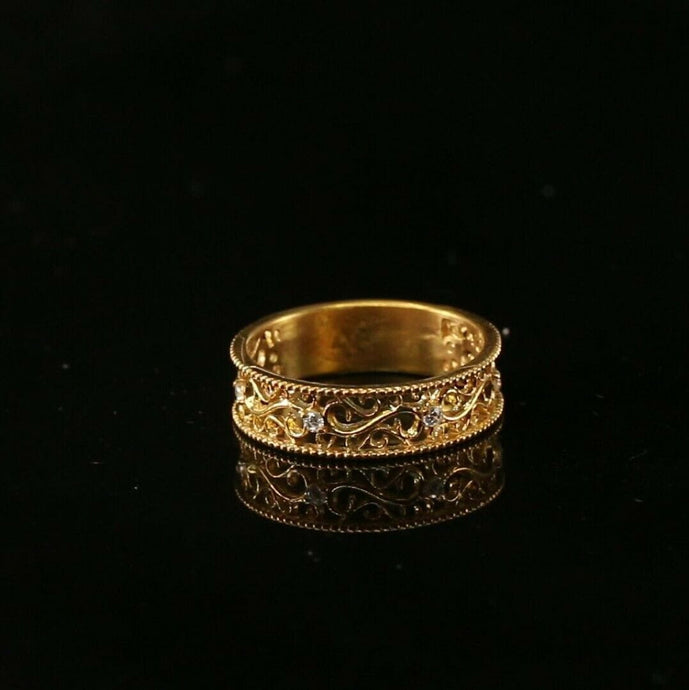22k Ring Solid Gold ELEGANT Charm Ladies Simple Ring SIZE 7