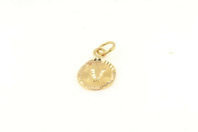 22k 22ct Solid Gold Charm Letter V Pendant Oval Design p1137 ns | Royal Dubai Jewellers