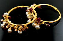 22k 22ct solid gold ROUND RUBY PEARL STONES DROP DANGLING Earrings HOOPS  E5394 | Royal Dubai Jewellers