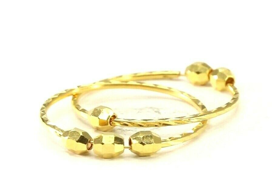 22k Earrings Solid Gold ELEGANT Simple Diamond Cut Hoop With Bead Design E8184