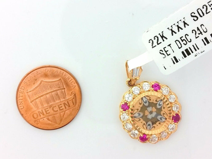 22k Solid Gold Charm Shield Shape pendant gross finish with rose stone s0256 | Royal Dubai Jewellers