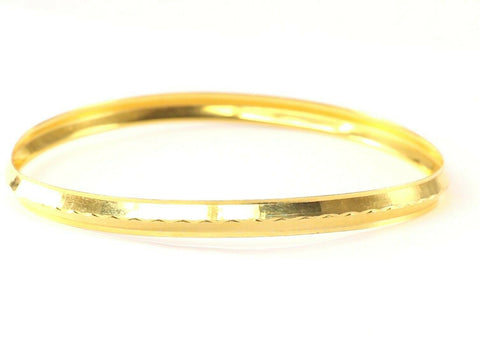 22k Bangle Solid Gold Simple Charm Plain Men Kara Design Size 3 inch B1174 | Royal Dubai Jewellers