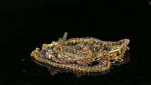 "22k Chain Yellow Solid Gold  Necklace Tri Color Stone Encrusted Length 18 ""c3146"