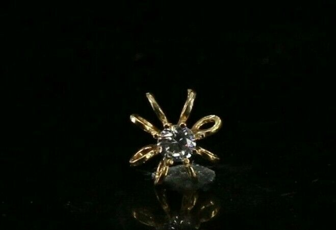 22k Pendant Solid Gold ELEGANT Simple Diamond Cut Floral Pendant P4117mon