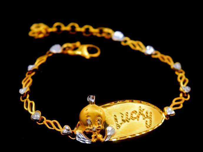 22k 22ct Solid Gold ELEGANT BABY Bracelet length 6.0Inch CB321 with unique box | Royal Dubai Jewellers