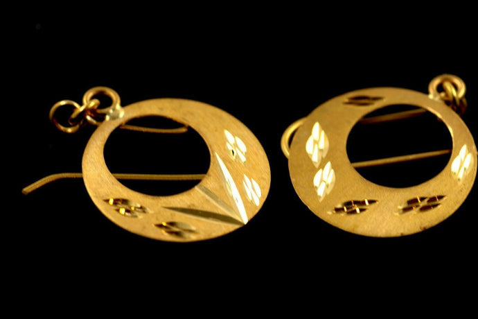 22k 22ct Solid Gold Thick Hoop WIDE Modern Earrings STUDS E5420 | Royal Dubai Jewellers