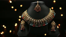 22k Necklace Set Beautiful Solid Gold Classic Multi Color Stone For Ladies LS160