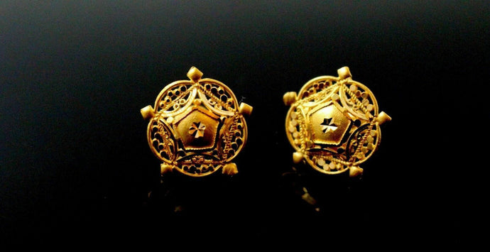 22k 22ct solid gold ROUND women's earrings studs E5732 | Royal Dubai Jewellers