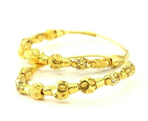 22k Earrings Solid Gold ELEGANT Simple Hoops with Beads Insert Design E3910