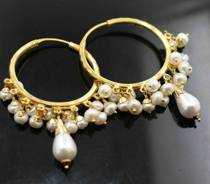 22k 22ct solid gold GORGEOUS BIG ROUND PEARL DROP DANGLING Earrings HOOPS  E5388 | Royal Dubai Jewellers