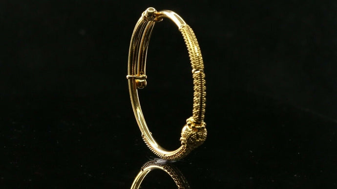 22k Children Bangle Solid Gold Simple Charm Filigree Design cb1235