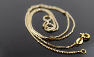 22k Jewelry Yellow Solid Gold Chain Necklace 0.02mm 18 Inch Modern Design c174 | Royal Dubai Jewellers