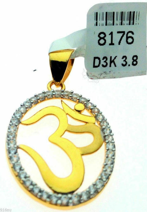 22k 22ct Solid Yellow Gold Hindu Religious Symbol OM OHM AUM Round Pendant p0040 | Royal Dubai Jewellers