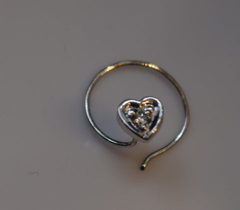 Authentic 18K White Gold Nose Pin Heart Ring Round-Cut-Diamond VS2 n077 | Forever22karat