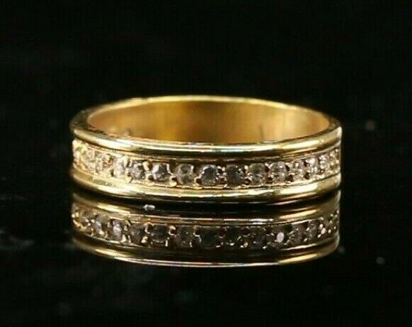 22k Ring Solid Gold ELEGANT Charm Ladies Channel Band SIZE7.25