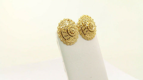 22k 22ct Solid Gold ELEGANT Simple Filigree Round Studs Earrings Design E7254