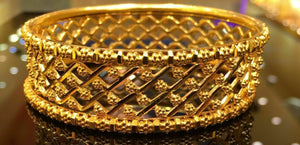 22k 22ct Solid Gold Diamond Cut Designer Bracelet Bangle Cuff 6 SIZES mf | Royal Dubai Jewellers