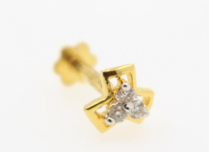 Authentic 18K Yellow Gold Charm Nose Pin Stud Diamond VS2 n309 | Forever22karat