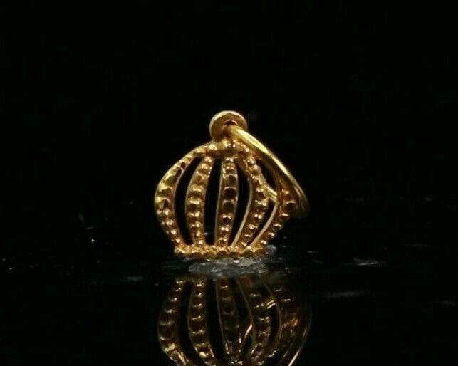 22k Pendant Solid Gold ELEGANT Simple Diamond Cut Crown Pendant P2197z mon