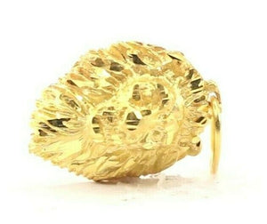 22k Pendant Solid Gold ELEGANT Simple Diamond Cut Lion Head Pendant P1518
